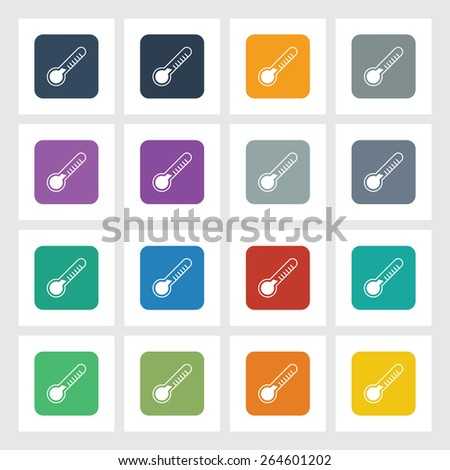 Very Useful Flat Icon of Thermometer with Different UI Colors. Eps-10. - stock vector