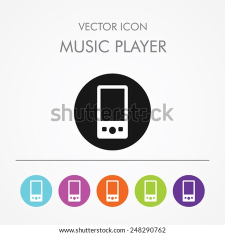 Very Useful Icon of music player On Multicolored Flat Round Buttons. - stock vector