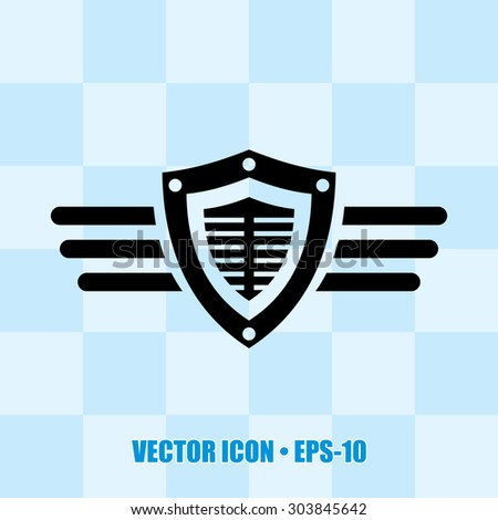 Very Useful Icon Of Shield & Wings. Eps-10. - stock vector