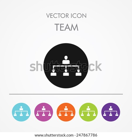 Very Useful Icon of Team (Management) On Multicolored Flat Round Buttons. - stock vector