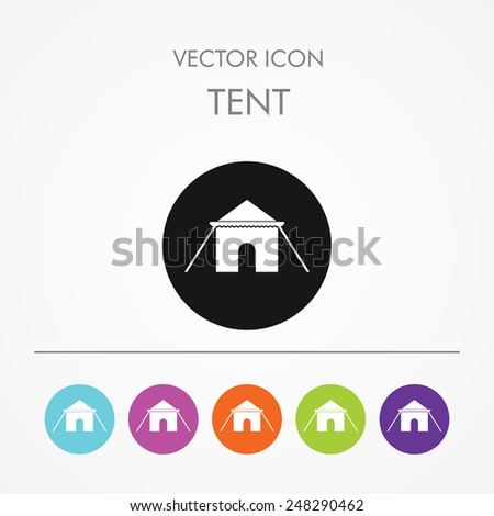 Very Useful Icon of tent On Multicolored Flat Round Buttons. - stock vector