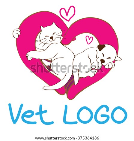 Vet logo and symbol design concept hand made the same heart shape is symbol care, supervision, protection have cat hug doctor hand and puppy sleeping very happy in hand and to say love this doctor - stock vector