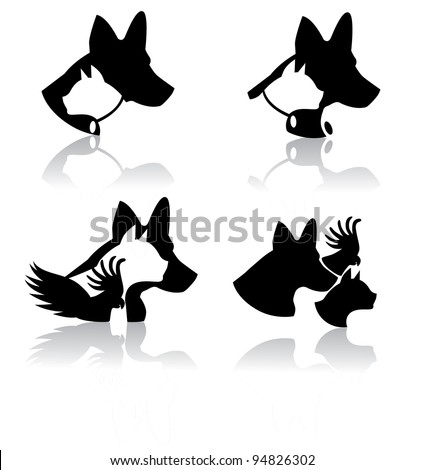 Vet Pet Icons Symbols Set EPS 8 vector, grouped for easy editing. No open shapes or paths. - stock vector