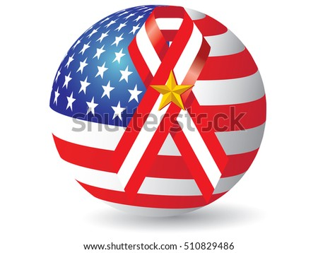 Veterans day USA Patriotic red  ribbon.Vector