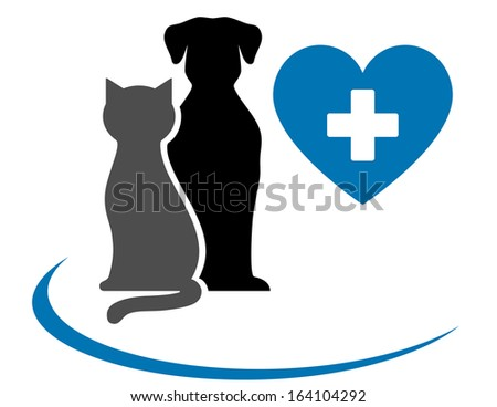 veterinarian icon with blue heart, pets and cross on white background - stock vector