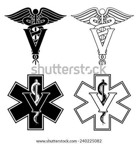 Veterinarian Medical Symbols is an illustration of two versions of a veterinarian medical symbol. At the top are two veterinarian symbols and at the bottom are two emergency veterinarian symbols. - stock vector