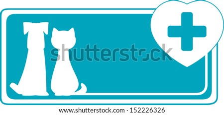 veterinary background with dog, cat and medical sign on heart  - stock vector