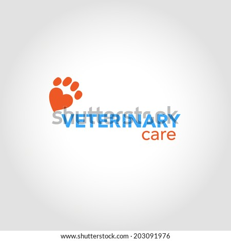 Veterinary Clinic - a symbol of love and care for animals. Vector element. - stock vector