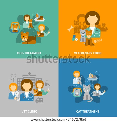 Veterinary clinic for pets with hospital and chemist shop 4 flat icons square composition isolated vector illustration - stock vector