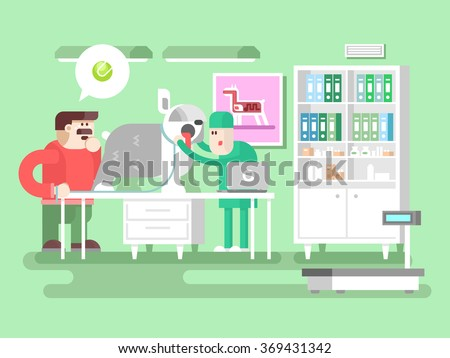 Veterinary clinic visitor and doctor - stock vector