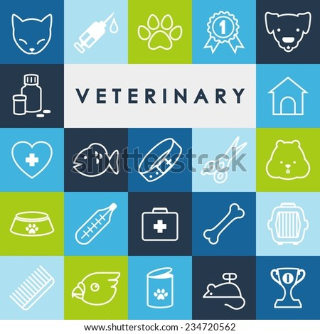 Veterinary flat icons in thin line style - stock vector