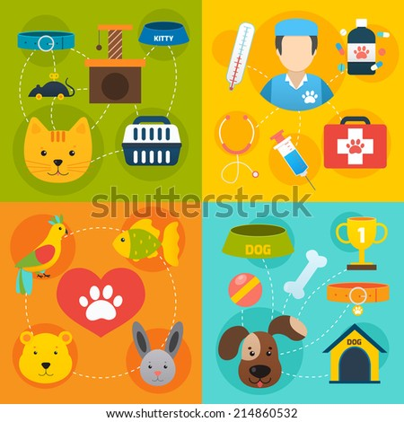 Veterinary pet food and health care infographic flat isolated vector illustration - stock vector