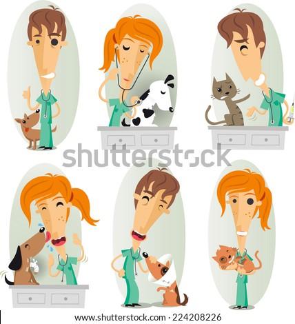 veterinary surgeon, veterinarian, or vet cartoon action set. - stock vector