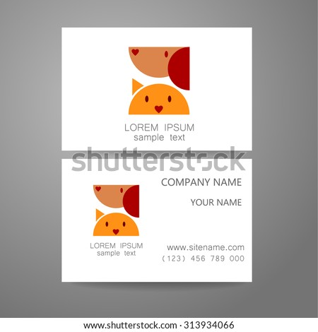 Veterinary - template logo. The idea of the logo for the veterinary service, pharmacy, hospital, center care, shelter animals. Branded business card. - stock vector