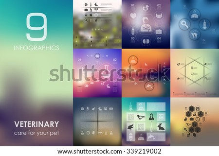 veterinary vector infographics with unfocused blurred background - stock vector