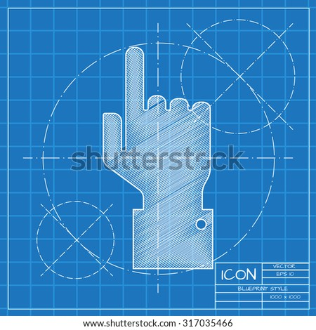 Vetor blueprint hand pointer icon on engineer or architect background.   - stock vector