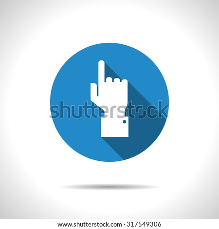 Vetor flat hand pointer icon on color circle  - stock vector