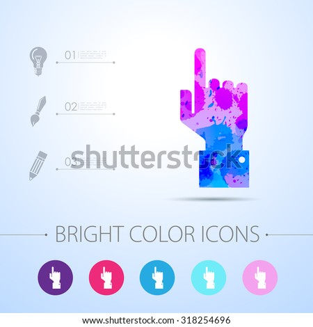 Vetor watercolor hand pointer icon with infographic elements  - stock vector