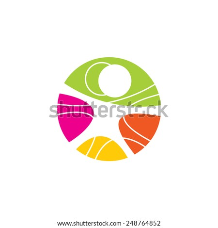 Vetruvian man abstract vector sign Branding Identity Corporate logo design template Isolated on a white background - stock vector