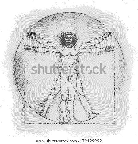 Vetruvian man, human anatomy study by Leonardo da Vinci, dot graphic, vector illustration - stock vector