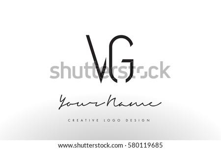 VG Letters Logo Design Slim Simple And Creative Black Letter Concept Illustration