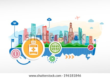 Vial of medicine and cityscape background with different icon and elements. Design for the print, advertising. - stock vector