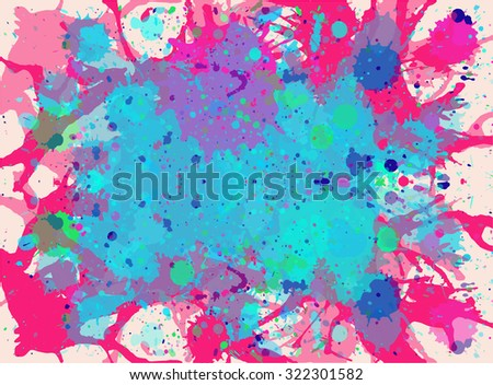 Vibrant bright watercolor paint artistic pink and blue  splashes background. - stock vector