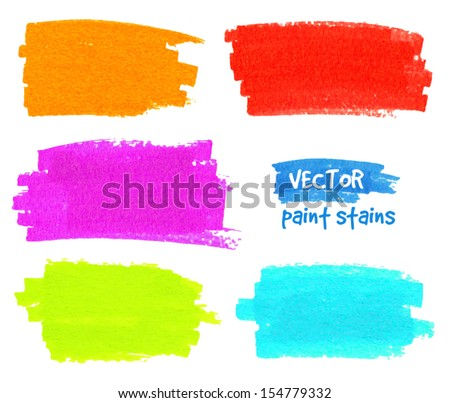 Vibrant colors vector felt pen stains - stock vector