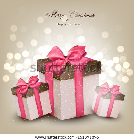 Vibrant defocused background. Bright bokeh with gift boxes. Vector illustration.   - stock vector