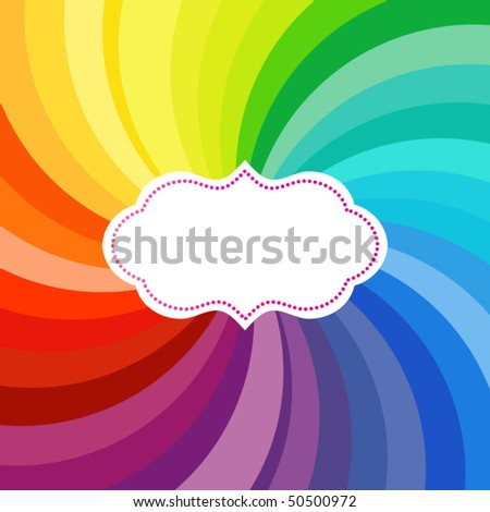 Vibrant swirl of colors with label (use with or without) - stock vector