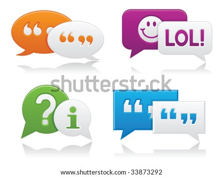 Vibrantly colored, smooth-style chat bubbles with drop shadows; perfect for web projects - stock vector