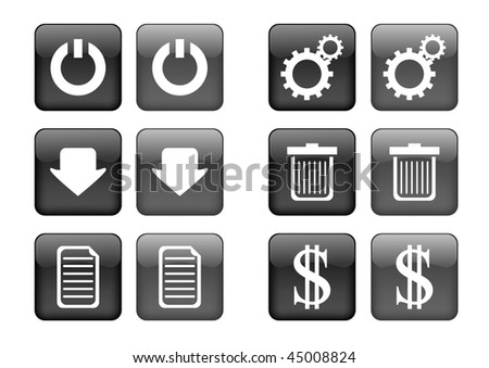 Victor collection of images for black buttons or icons, including selected and nonselected (by mouse for example) versions - stock vector