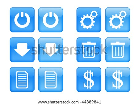Victor collection of images for blue buttons or icons, including selected and nonselected (by mouse for example) versions - stock vector