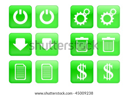 Victor collection of images for green buttons or icons, including selected and nonselected (by mouse for example) versions - stock vector