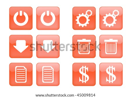 Victor collection of images for orange buttons or icons, including selected and nonselected (by mouse for example) versions - stock vector