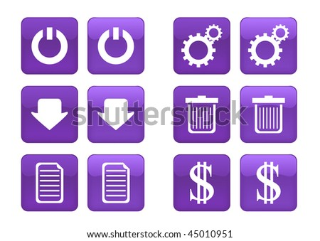 Victor collection of images for purple buttons or icons, including selected and nonselected (by mouse for example) versions - stock vector