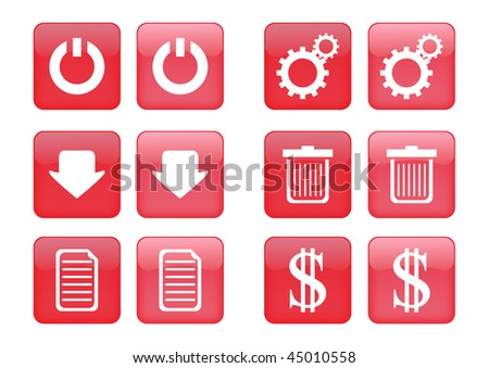 Victor collection of images for red buttons or icons, including selected and nonselected (by mouse for example) versions - stock vector