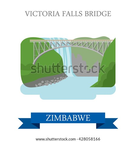 Victoria Falls Bridge in Zimbabwe. Flat cartoon style historic sight showplace attraction web site vector illustration. World countries cities vacation travel sightseeing Africa collection. - stock vector