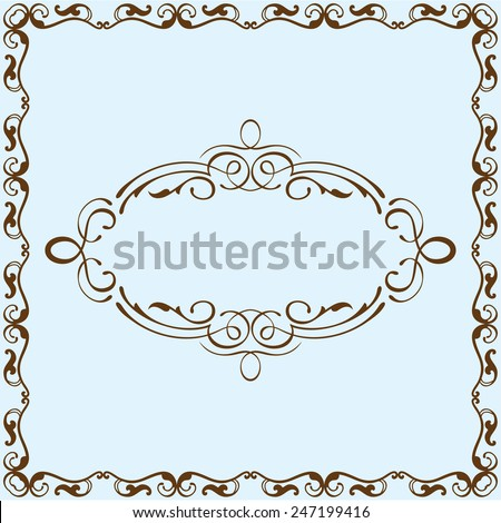 Victorian border is on blue - stock vector