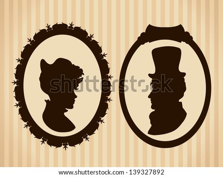 Victorian couple vintage silhouettes - stock vector