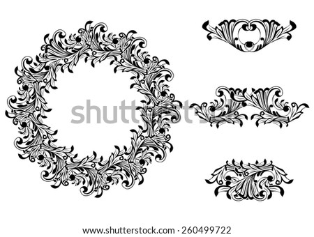 Victorian Decorative Element Collection in Black and White - stock vector