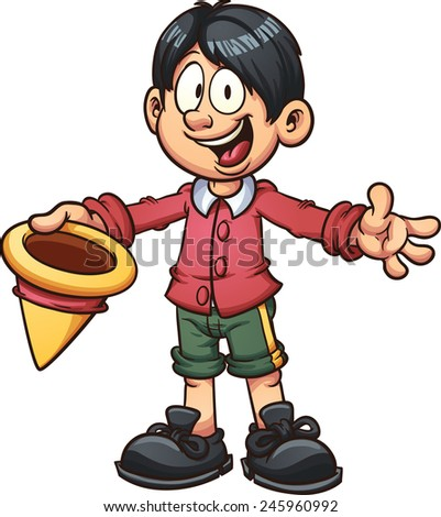 Victorian era boy. Vector clip art illustration with simple gradients. All in a single layer. - stock vector