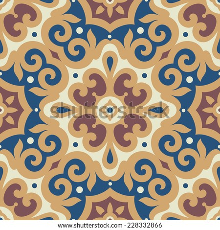 Victorian floral ornament, seamless pattern, tile design, vector illustration - stock vector