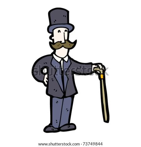 victorian gentleman cartoon - stock vector