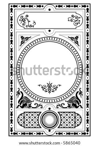 victorian gothic decorative design elements - stock vector