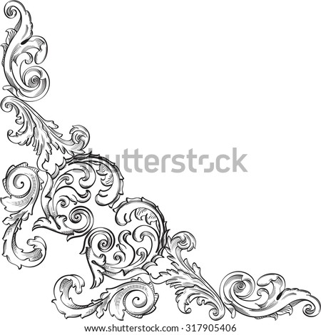 Victorian luxury pattern corner is on white - stock vector
