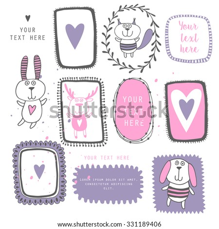 Victorian ornaments photo frames with cute animals in vector - stock vector