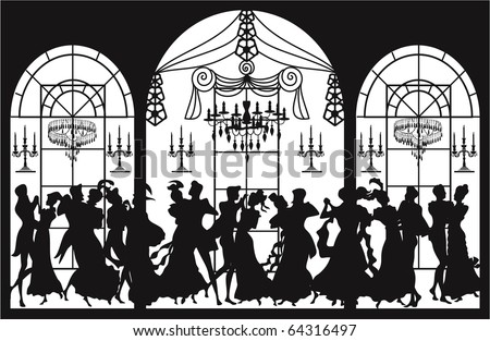 Victorian party - stock vector