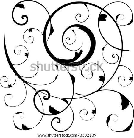 Victorian scroll in vector format within a square for tiling. - stock vector