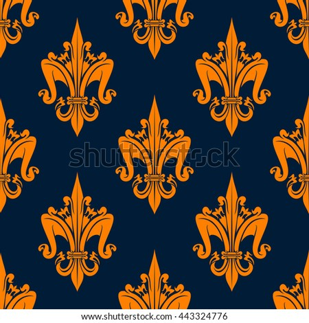 Victorian seamless floral heraldic pattern of orange medieval fleur-de-lis with decorative leaves scrolls and flowers on dark blue background. May be use as fabric print or heraldry theme design - stock vector
